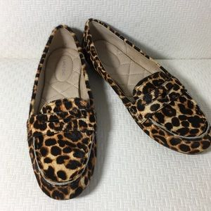Lands End Leopard Print Calf Hair Loafers 8 1/2 B